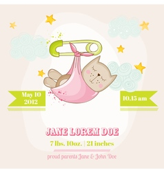 Baby Girl Cat Sleeping - Baby Shower Card vector image