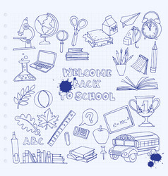back to school set kids doodles with bus books vector image