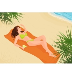 Beautiful girl in bikini on a sand beach vector