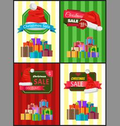 Big set christmas sale advertisement promo posters vector