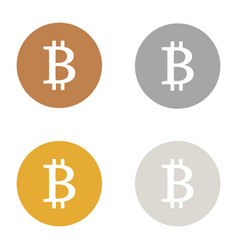 Bitcoin icons logo bronze gold silver platinum set vector