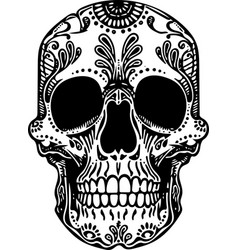 Black and white tattoo mexican skull vector