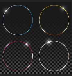 blue round shining circles rings set glow light vector image