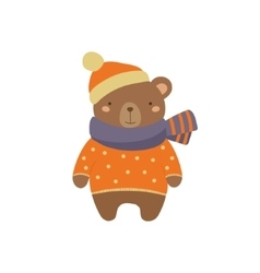 Brown Bear In Polka-dotted Sweater Childish vector image