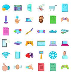 Business app icons set cartoon style vector