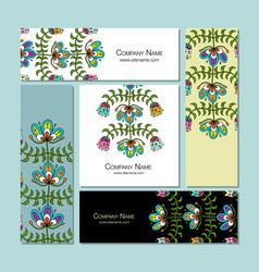 Business cards design folk style floral vector
