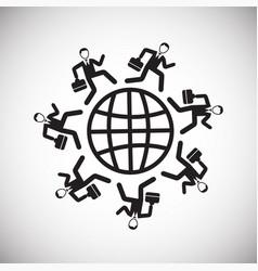 businessman around the world on white background vector image