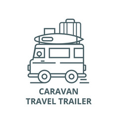 caravantravel camping trailer line icon vector image