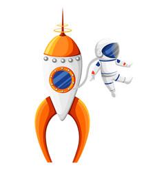 cartoon astronaut with spacesuit near rocket vector image
