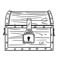 cartoon drawing locked antique wooden treasure vector image