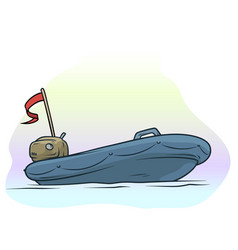 Cartoon empty blue inflatable boat with motor vector
