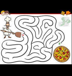 Cartoon maze activity with chef and pizza vector