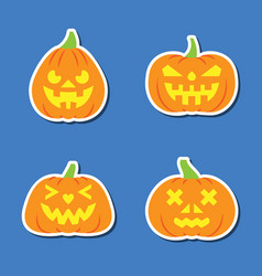 carving face halloween pumpkin sticker icon set vector image