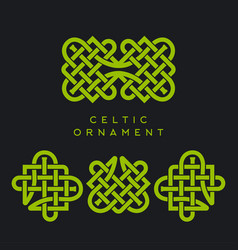 Celtic ornament pattern linear green patrick day vector