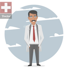 character of the old doctor with a mustache vector image
