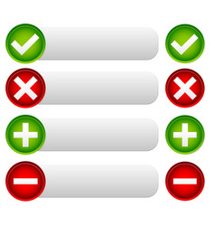 checkmark and cross buttons and banners with vector image