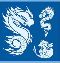 Chinese dragon silhouettes tattoo mythology tail vector