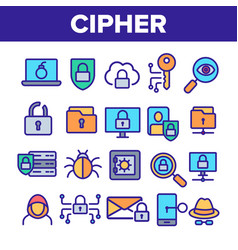 Cipher data protection linear icons set vector
