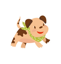 cite funny dog in green scarf running cartoon vector image