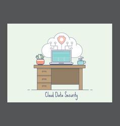 Cloud data security icon vector