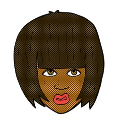 Comic cartoon annoyed girl with big hair vector