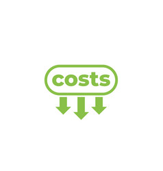 Costs down icon on white vector