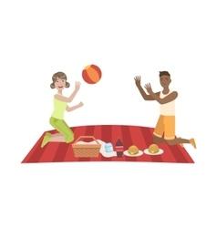 Couple Playing Ball On Picnic vector image