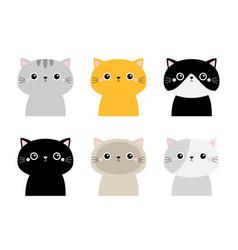 Cute cat head face icon set funny kawaii cartoon vector