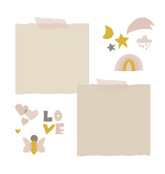 Cute nursery clip art and stickers for kids design vector