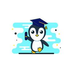 Cuteness cartoon baby penguin graduation vector
