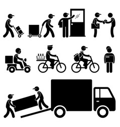 Delivery man postman courier post stick figure vector