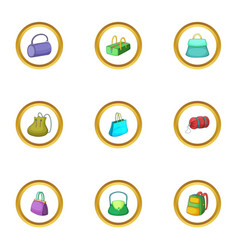 different bag icons set cartoon style vector image
