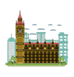 Doodle london clock tower and nice trees vector