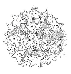 Doodle stars circle shape pattern for coloring vector