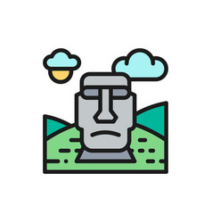Easter island chile landmark flat color vector