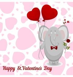 elephant wishes happy Valentines day vector image