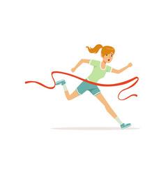 Female athlete taking part in running marathon vector