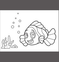 Fish coloring book vector