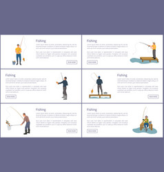 Fishing man with rods set vector
