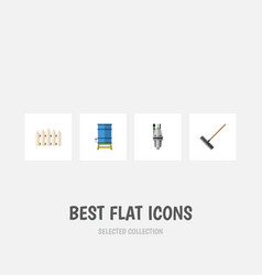 Flat icon garden set of wooden barrier container vector
