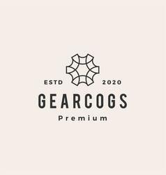 gear cog cogs hipster vintage logo icon vector image