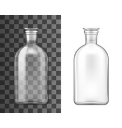 Glass bottles with stoppers laboratory glassware vector