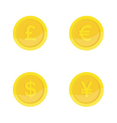 gold coins icon coins with images currencies vector image
