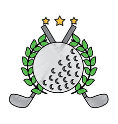 Golf clubs cross and ball with laurel stars vector