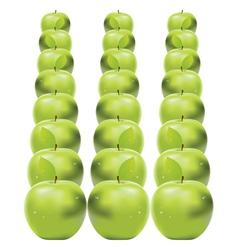 Green apples in row vector