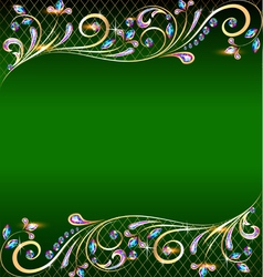green background with jewels vector image
