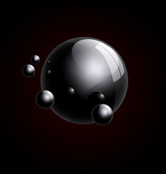 group of realistic black glass balls 3d vector image