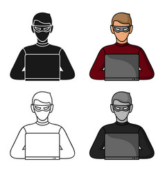 hacker icon in cartoon style isolated on white vector image