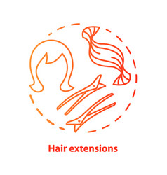 Hair extensions blue concept icon clip in vector