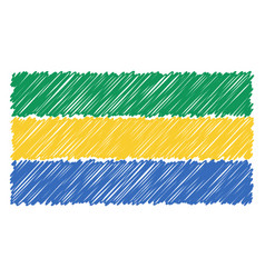 hand drawn national flag of gabon isolated on a vector image